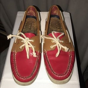 Women's Red Patent Leather Sperry TopSiders